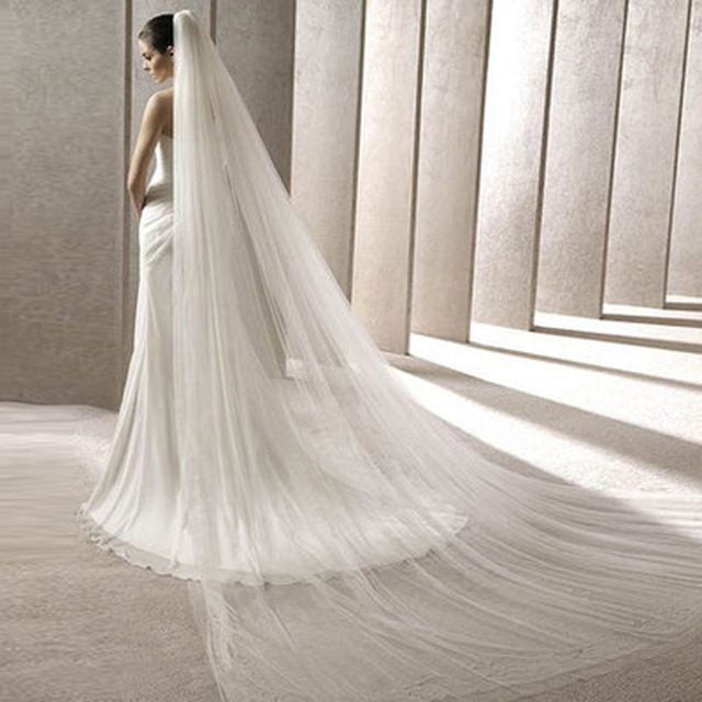 Wholesale Price Two Layers SImple Tulle with Comb Cathedral Length Wedding Veils 2017