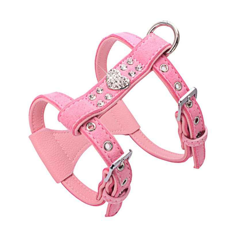 Pet Chest Strap Shining Rhinestone Heart design Vest Harnesses soft comfortableSmall Dog Puppy Cat  Leather Leash Pet Supplies