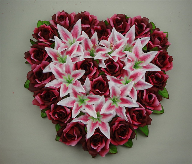 44x44cm Heart Shaped Wedding Car Decoration Artificial Rose Flowers ...