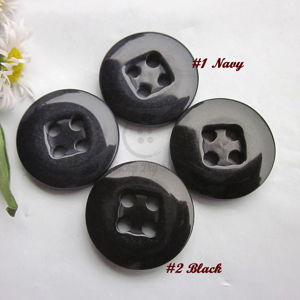 50pcs 17.5mm 28L Good Quality Black / Navy 4 holes Resin Sewing Buttons for sweater pants Sewing buttons supplies ...