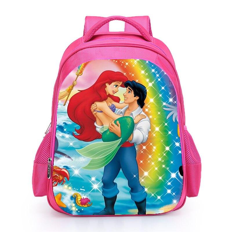 The Little Mermard Ariel Backpack 2018 Pink Princess Kids School Bag Fairy Tale Schoolbag Book Bags for Teen Girls mochila Bolsa (5)