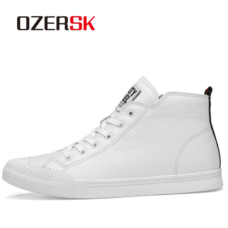 OZERSK Marka 2019 Sıcak Satış Erkek Botları Moda erkek ayakkabısı Sonbahar Yüksek Üst Ayakkabı Adam Için Yeni Rahat deri ayakkabı Erkekler Boyutu 38 ~ 44