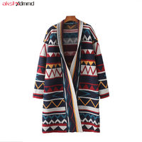 2019 New Women Spring Autumn Cardigans Loose Long Coat Casual Vintage Sweater Open Stitch Bohemian Girl Knit Jacket Cacaso AC180