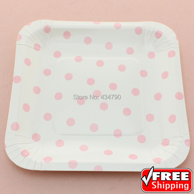60pcs 7  Square Eco Friendly Paper Plates Baby Pink Polka DotBirthday Party & 60pcs 7