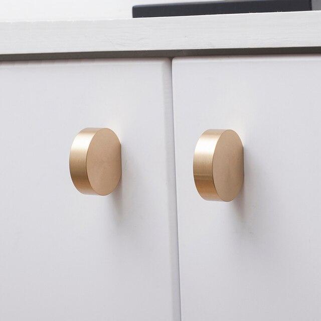 Unique solid brass Cabinet Knob Handle Dresser Knobs Gold Brass Drawer Pulls Handles Modern Simple Knob Kitchen Knobs 2