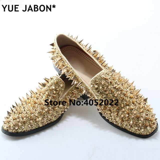 6ad7e6abeac Detail Feedback Questions about Fashion Gold Spiked Loafers Shoes Men Bling  Sequins Banque Wedding Shoes Male Slip On Rivets Men Shoes Leather Men  loafers ...