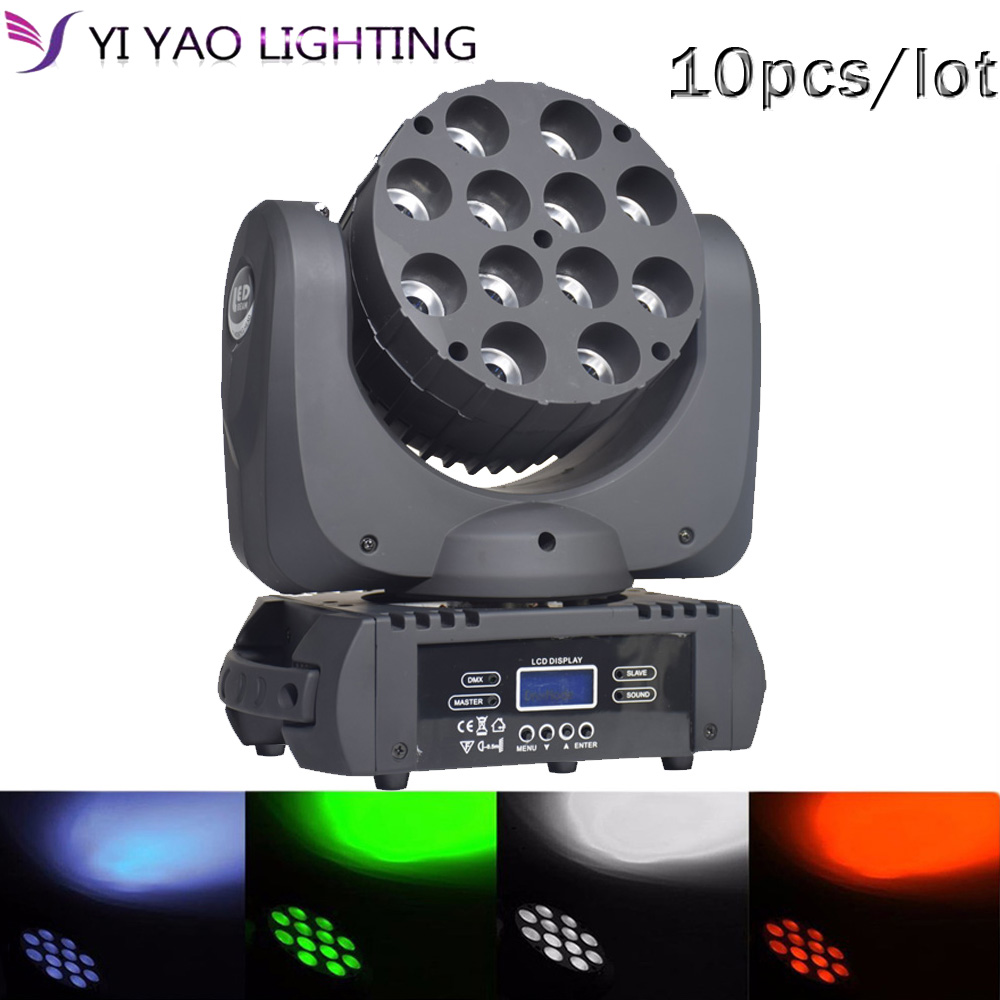 LED beam moving head light CREE 12x12w rgbw 4in1 advanced for dj 10pcs/lotLED beam moving head light CREE 12x12w rgbw 4in1 advanced for dj 10pcs/lot