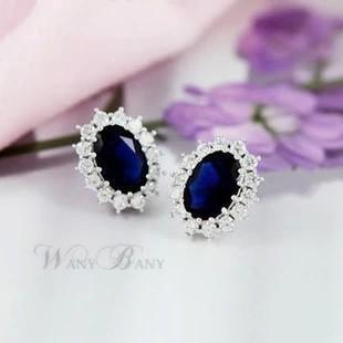Luxury British Princess Engagement Wedding Blue Sapphire Earrings Stud Set Solid 925 Sterling Silver Earrings