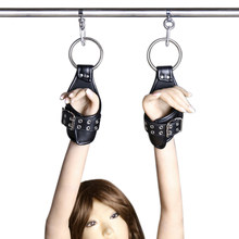 Black PU Leather Hanging Handcuffs Fetish Bondage Restraints Submissive Hand Wrist Cuff Adult Games Sex Toys for Couples(China)