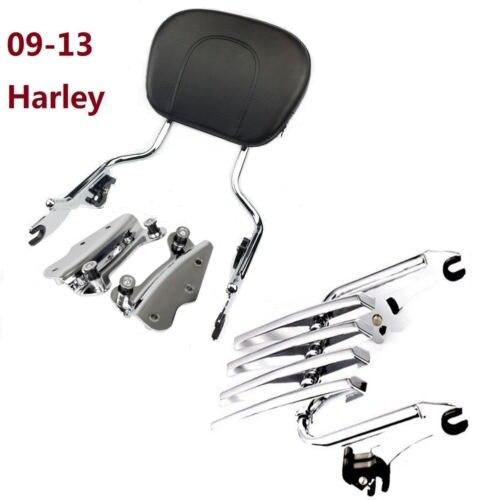 chromed Sissybar Backrest + Docking hardware kit +Luggage rack For Harley Touring Street Glide roadking ultra CVO 2009-2013 модуль hpe rack hardware kit h6j85a