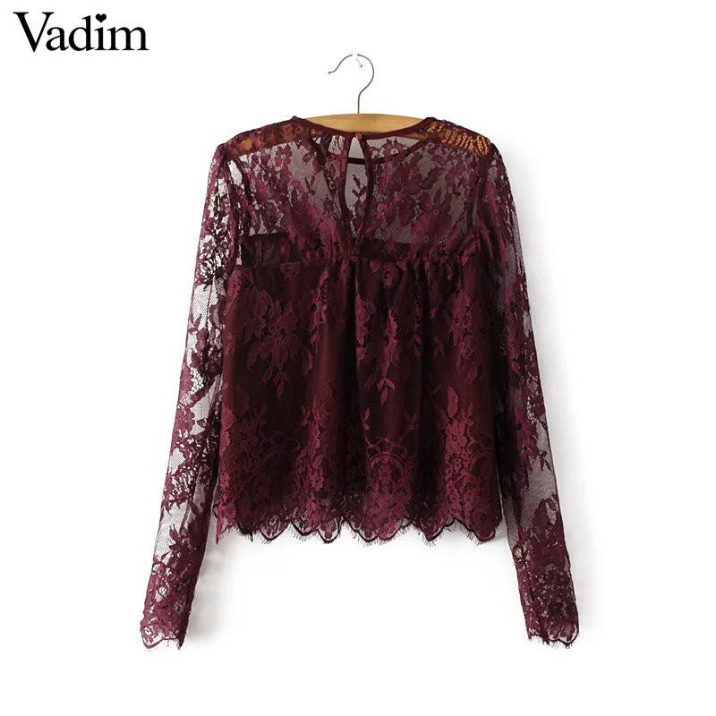 HTB1M6djPXXXXXcfXVXXq6xXFXXX9 - Women vintage transparent wine lace long sleeve o neck blouse