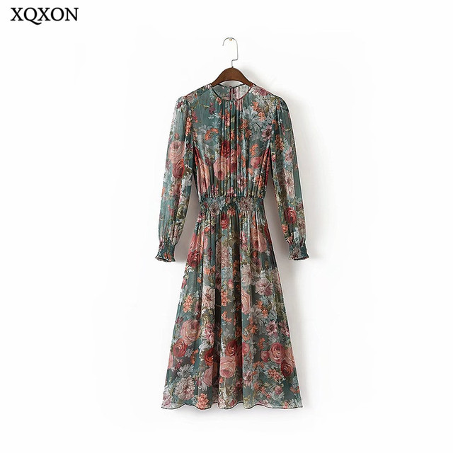 0c529d089e Vintage Flowers Print Chiffon Dress Women 2019 New Fashion Two Pieces Set  Elastic Waist Boho Summer Beach Dresses Femme Vestidos