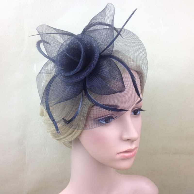 Elegancka dama kobiety Fascinator kapelusz spinki do włosów akcesoria do włosów ślubne kościół peruki imprezowe dekoracja welon opaska do włosów