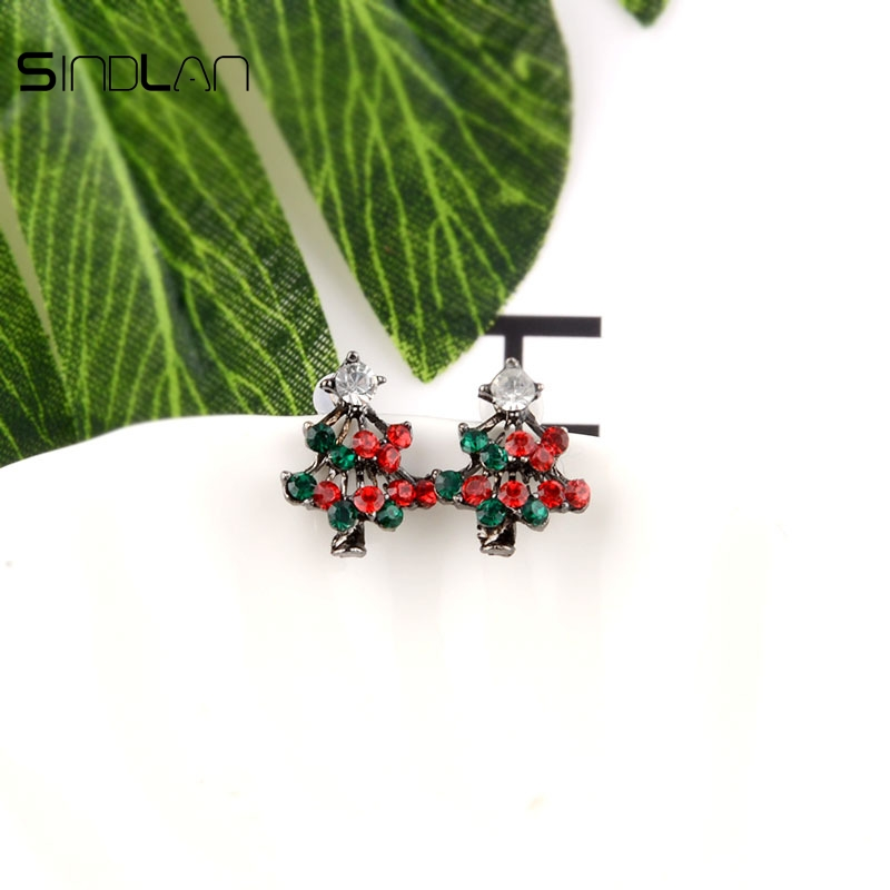 Sindlan Earrings Fashion Christmas Jewelery Charm Crystal Rhinestones Cute Pines Christmas Tree Stud Earrings For women