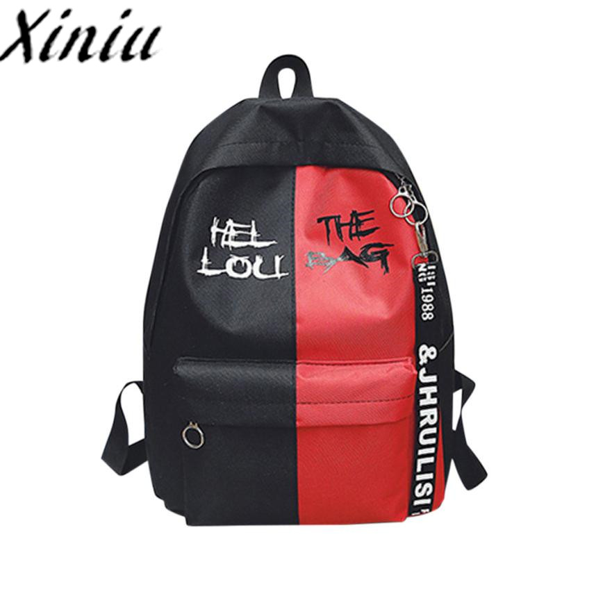 Xiniu Nylon backpack Patchwork rucksack women 2018 school backpack for teenager woman ba ...