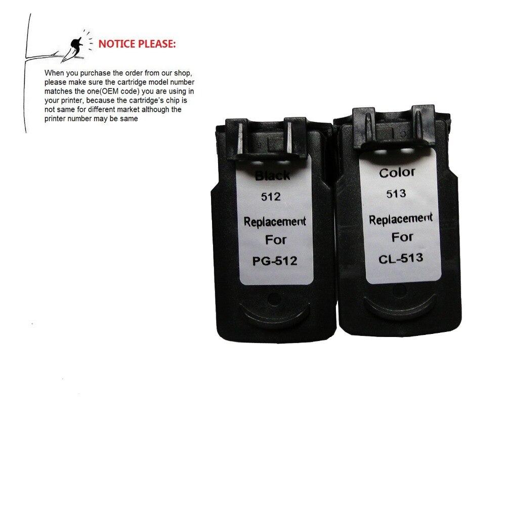 YOTAT PG512XL CL513XL Remanufactured Ink Cartridge PG 512XL CL 513XL For Canon Pixma IP2700 MP480 MP490 MX320 MX330 MX340 MX350