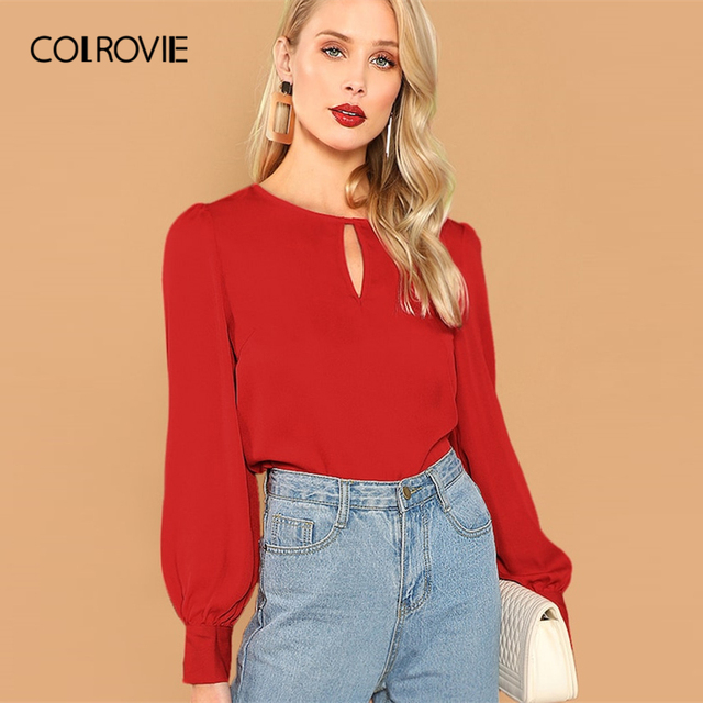 bd8649752 COLROVIE Red Solid Keyhole Button Office Vintage Blouse Women Long Sleeve  Shirt 2019 Spring Korean Fashion Elegant Ladies Tops