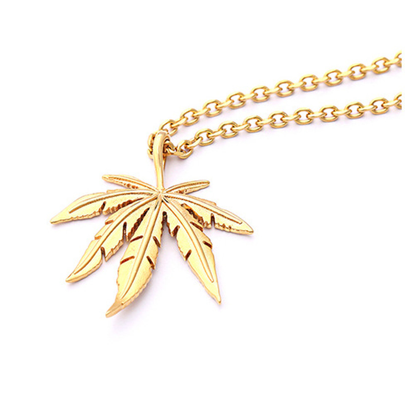 New Gold Silver Plated <font><b>Cannabiss</b></font> Small Weed Herb Charm Necklace Maple Leaf Pendant Necklace Hip Hop Jewelry Wholesale image