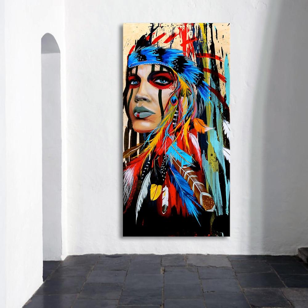 Aavv Wand Kunst Bild Leinwand Malerei Poster Wand Bilder Für Wohnzimmer Native Indian Gefiederten Frau Keine Rahmen Dropshiping