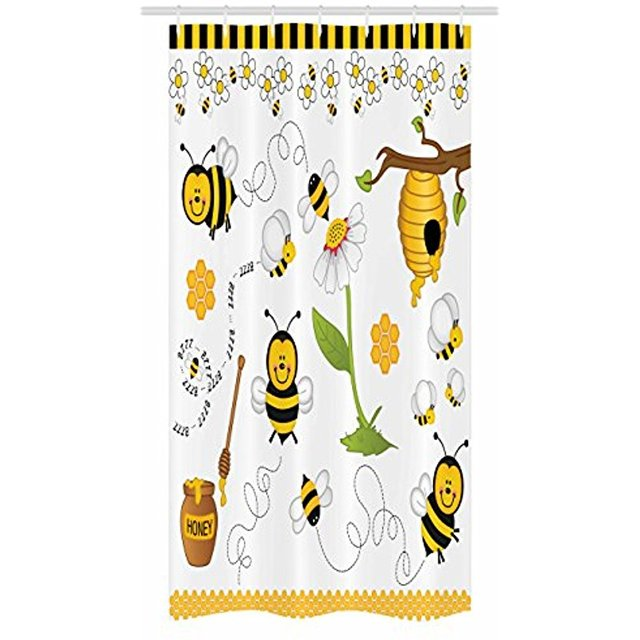 Vixm Collage Decor Stall Shower Curtain Flying Bees Daisy Honey Chamomile Flowers Pollen Spring Animal Fabric Bath Curtains