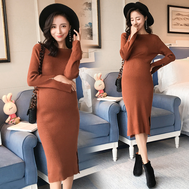 1777# Elegant Slim Knitted Maternity Long Dress Autumn Winter Fashion Side Splits Strech Clothes for Pregnant Women Pregnancy autumn winter female long wool knitted dresses turtleneck slim lady accept waist package hip pullovers sweater dress for women