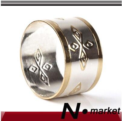 Nové doprava zdarma Reliéfní ubrousky na ubrousky pro svatební stříbrný květ zlata Chhinese styl kulatý držák ubrousku