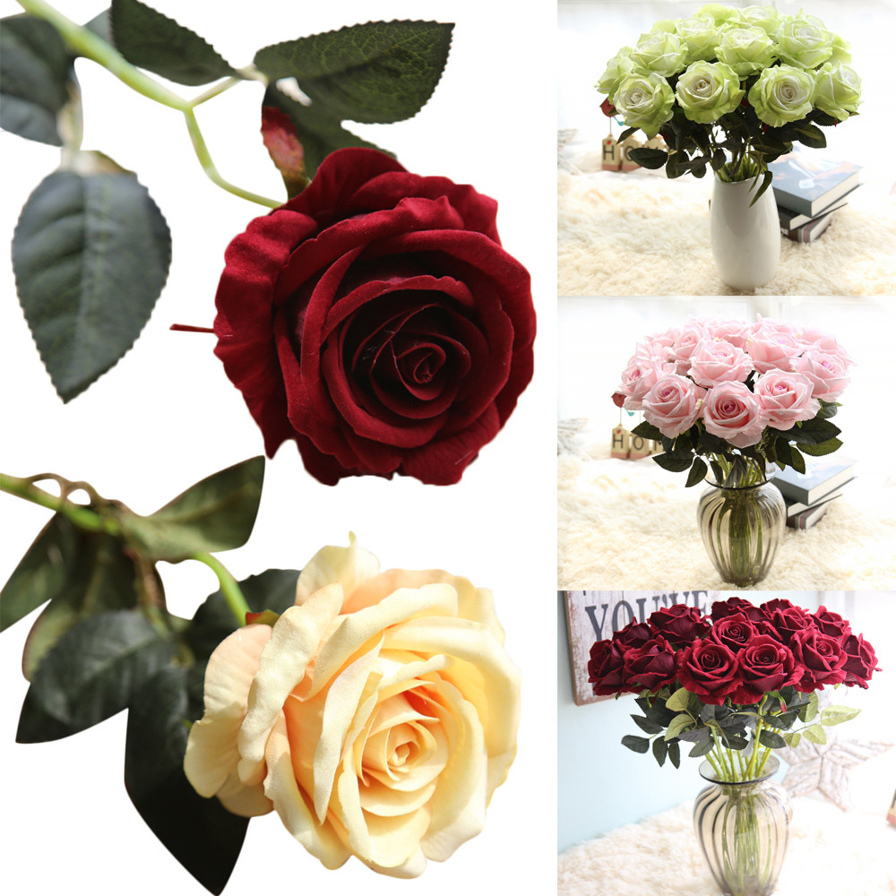 1X Artificial Fake Rose Flannel Flower Bridal Bouquet Wedding Party Home Decor