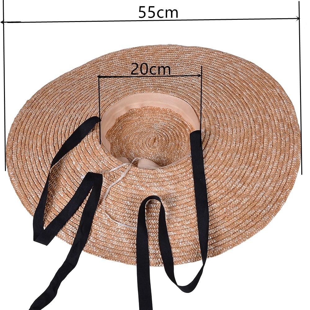 2019 Women Natural Wheat Straw Hat Ribbon Tie Brim Boater Hat Derby Beach Sun Hat Cap Lady Summer Wide Brim UV Protect Hats