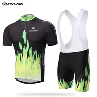 Bike Clothing XINTOWN Green Cycling Clothing Cycling Jersey Sets With Bib Men S Bicycle Shorts Short