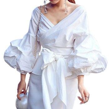 2XL Sexy Puff Sleeve Blouse Blusas White Shirts Women Kimono Elegant Blouse Plus Size Women Blouses Bow Plaid Women Tops Top
