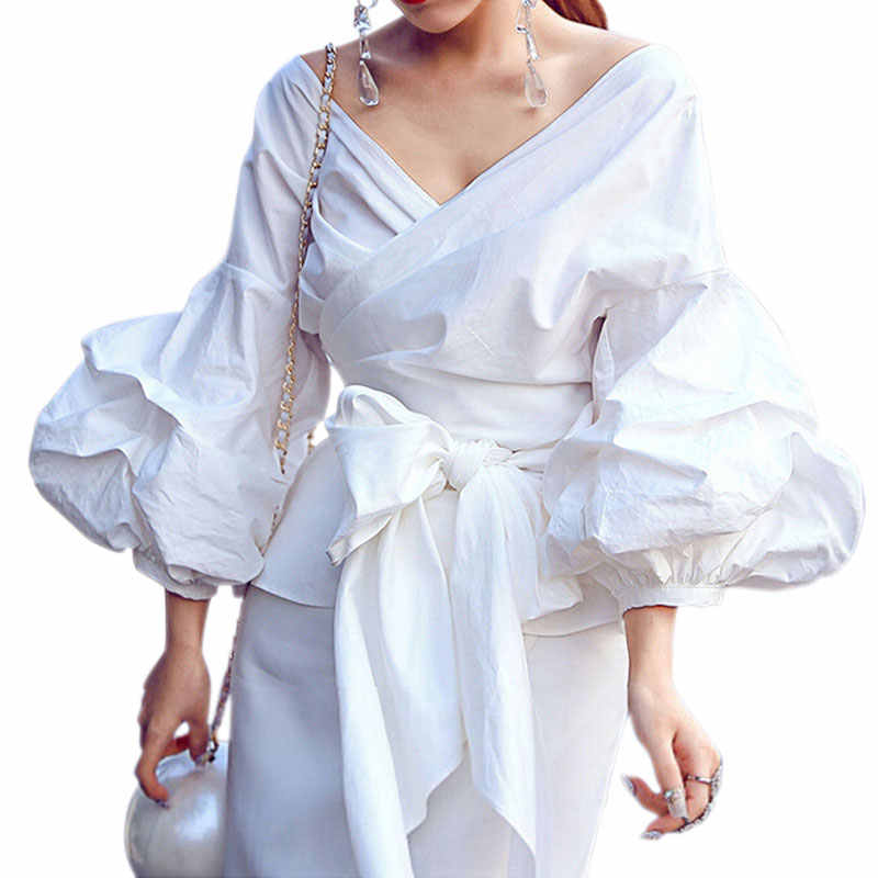 3bc7aa853a7 Detail Feedback Questions about 2XL Sexy Puff Sleeve Blouse Blusas White  Shirts Women Kimono Elegant Blouse Plus Size Women Blouses Bow Plaid Women  Tops on ...