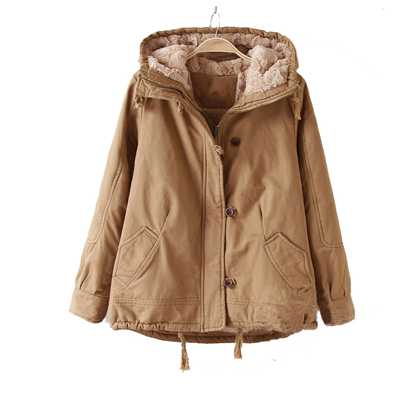 Winter Hooded Lamb Fur Warm   Parkas   Jacket Women Plus Size Winter Clothe For Women Coat Warm Jaqueta Feminina Large Size Coat