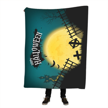 Halloween Watercolor Sherpa Blanket for Beds Velvet Plush Geometric Throw Girls Bedspread Sofa Cover 130x150