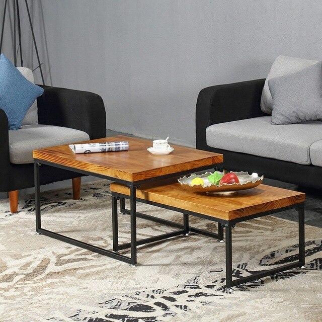 Coffee Tables Living Room Furniture Home Furniture Iron Wood Tea Table  Minimalist Sofa Side Table Desk