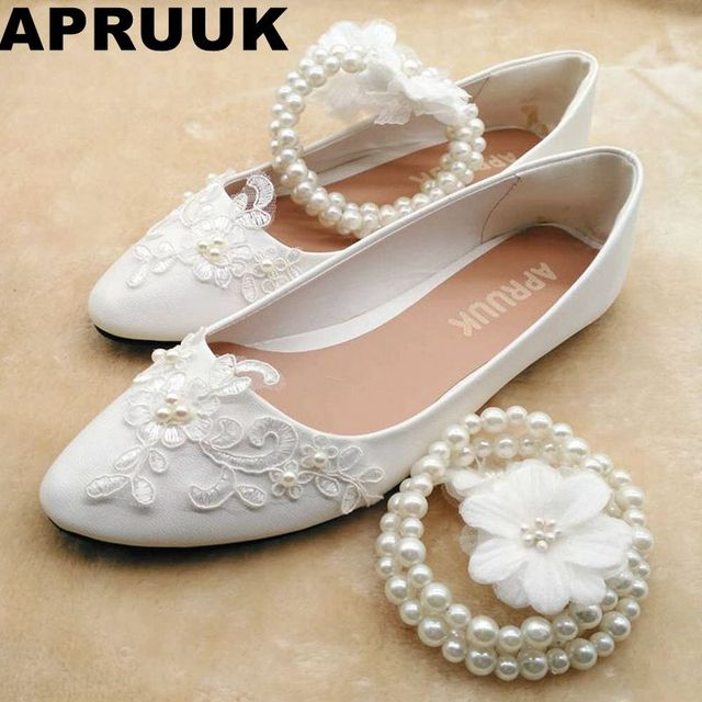 Lace pearls brides wedding shoes ankle sweet pearls string bead anklet flower  girl bridesmaid flats shoes 787c52ce623b