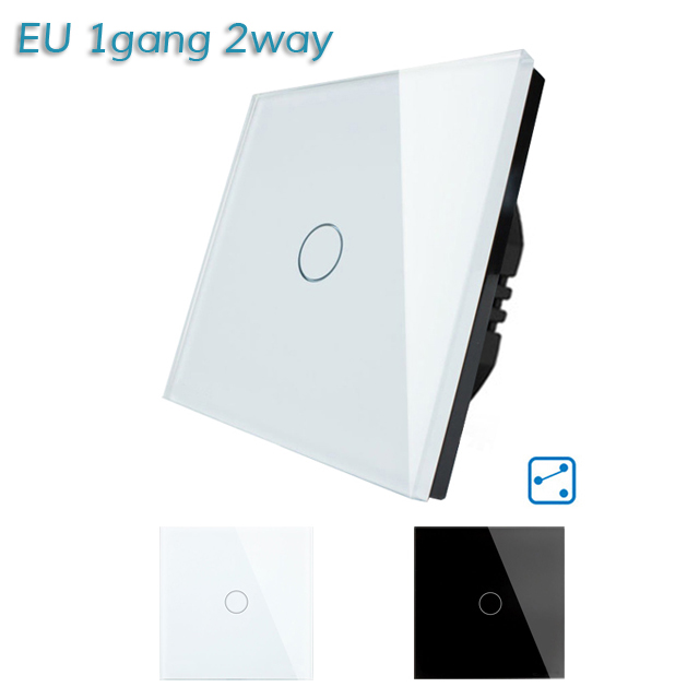 Smart Home EU Standard 1 Gang 2 Way Light Wall Touch Switch Crystal Glass Panel Waterproof and Fireproof smart home eu touch switch led wall light touch switch 220v 3 gang 1 way waterproof crystal tempered glass panel