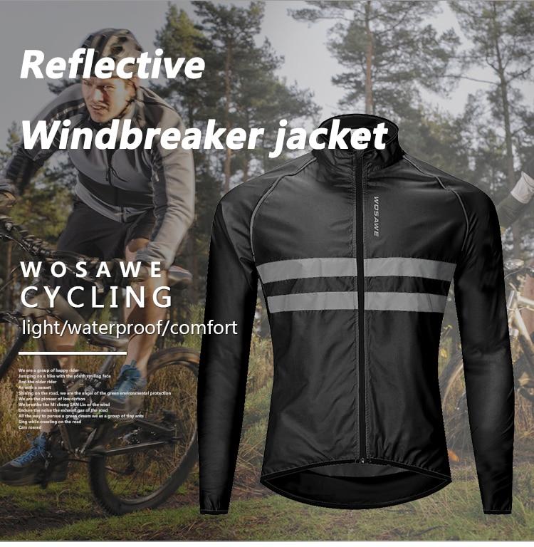 WOSAWE Cycling Jacket High Visibility MultiFunction Jersey Road MTB Bike Bicycle Windproof Quick Dry Rain Coat Windbreaker