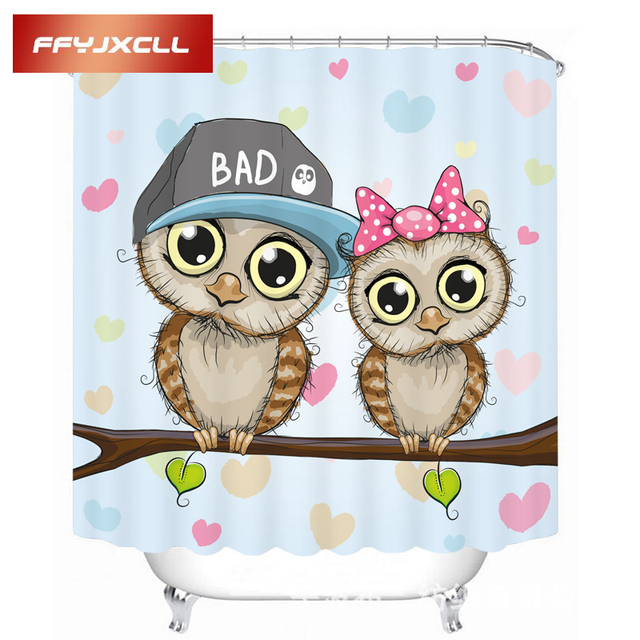 Lovely Cartoon Couple Owl Printing Polyester Waterproof Mildew Fabric  Shower Curtain Eco Friendly Bathroom Curtain