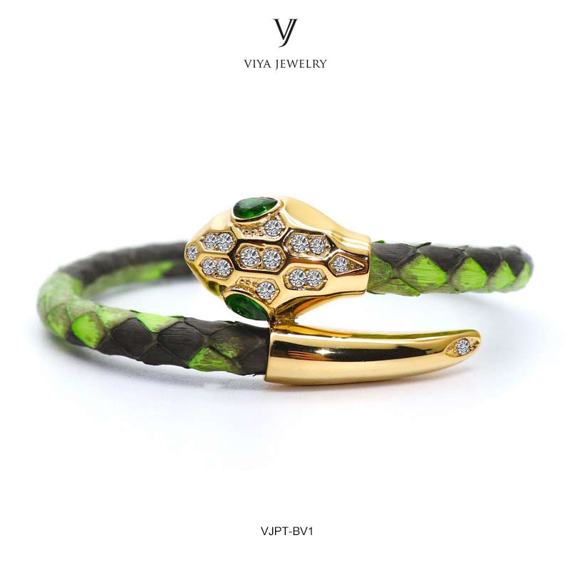 VJPT-BV1---Python leather snake bracelet ,fashion snake head Python leather bracelet,charms snake bracelet women men (21)