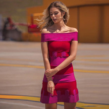 Seamyla 新夏包帯ドレスの女性高品質パッチワークボディコン Vestidos Celebirty パーティードレスセクシーなスラッシュネッククラブウェア