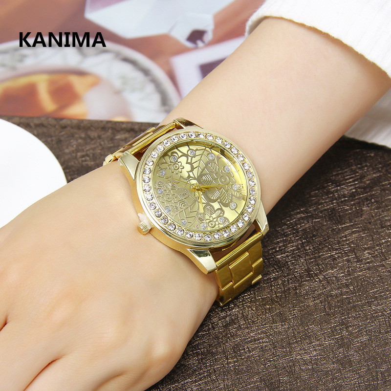 New High Quality Luxury Crystal Diamond Watches Women Gold Watch Steel Strip Rose Gold Sparkling Dress Wristwatch Free Shipping