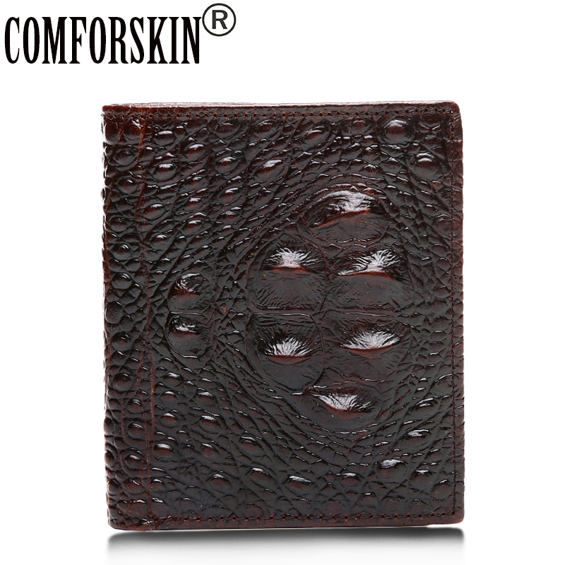 2017 New Arrivals Spring Fashion Style Men Purses Premium 100% Cow Leather Crocodile Pattern Leisure Short Wallets For Male