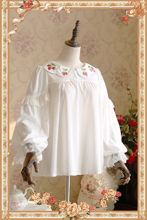 Sweet White Loose Women's Chiffon Blouse Strawberry Embroidered Long Sleeve Chiffon Top by Infanta