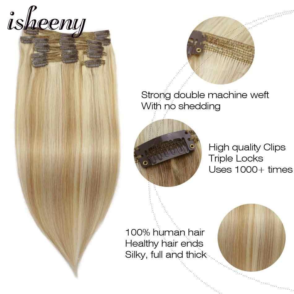ISHEENY 100% настоящие волосы Remy на заколках для наращивания человеческих волос цвет фортепиано 27/613 # полная голова 8 шт./компл. накладные волосы на заколке