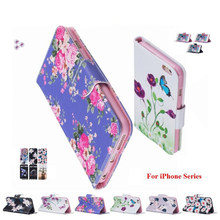Luxury Flip PU Leather Pattern Phone Bags For Apple iPhone 5 5S SE 6 6S 7 8 Plus Magnetic Book Retro Cases For iPod Touch 6 or 5(China)