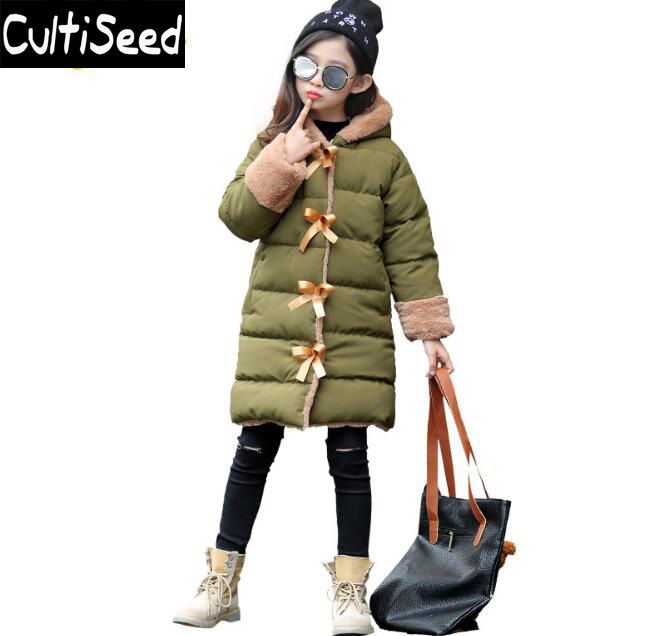 Girls Winter Warm Cotton Parkas Coat Children Bow Button Single Breasted Thick Hooded Long Down Coat Kids Casual Overcoat 2017 winter women jacket down new fashion hooded thick warm medium long cotton coat long sleeve loose big yards parkas ladies323
