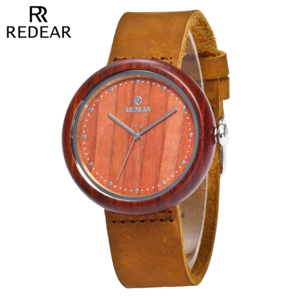 Подробнее о REDEAR Red Sandal Wood Watches with Real Leather Straps Quartz Movement Wooden Casual Watch For Men Women Fashion Watch Lovers top popular red sandal wooden watch men japan quartz movement wristwatch luxury brand redear natural wood women watches relojes
