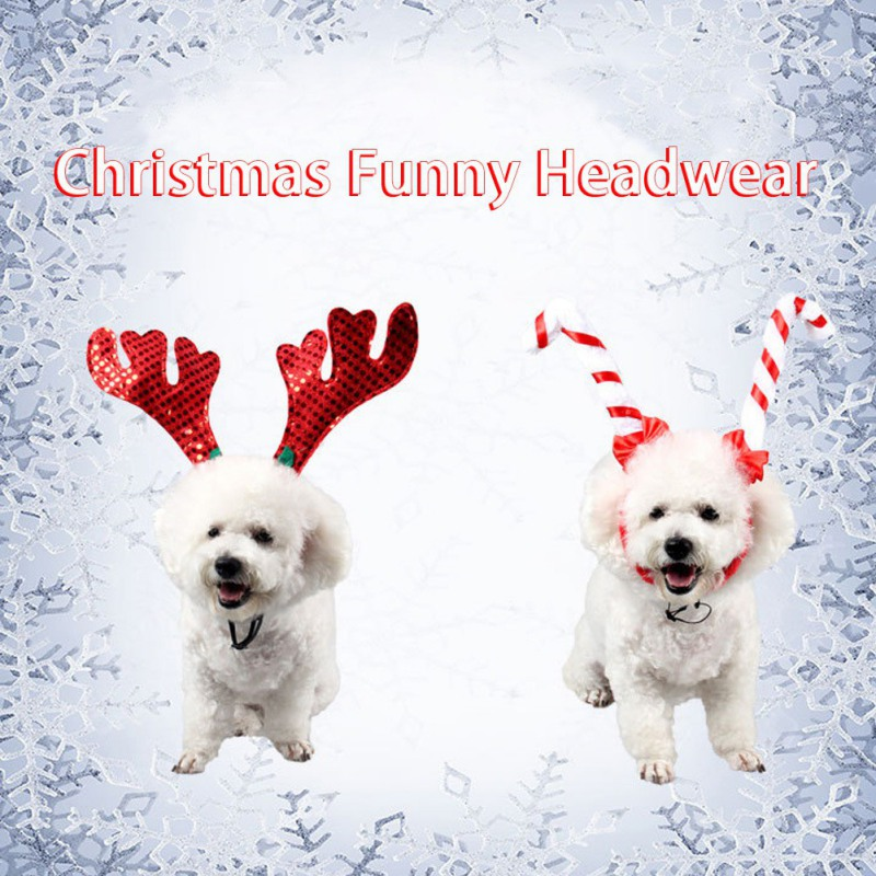 Self-Conscious Jizizi Out Headgear Pet Christmas Supplies Dog Cat Jewelry Headband Red Antler Umbrella Hook Headband Without Return Home