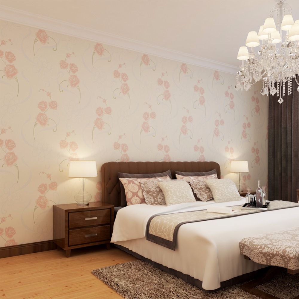 Pink rose floral wallpaper bedroom wallpaper kids 39 room for Bedroom decor house beautiful