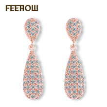 FEEHOW Fashion Tiny Cubic Zircon Dangle Earrings Rose Gold Color Water Drop Earrings Jewelry For Women